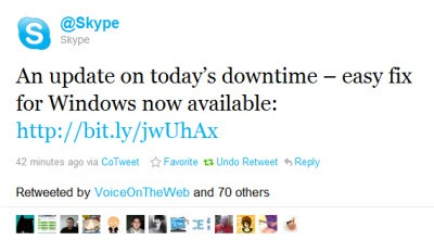SkypeLoginDisruptionTweet3 Skype Login Disruption Update: User Friendly Fixes Becoming Available