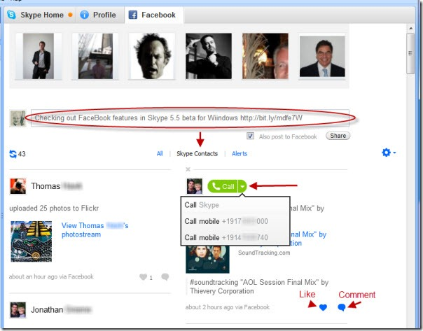 SkypeForWindows.5 5.FaceBookWall thumb Skype for Windows 5.5 beta: First Impressions with Facebook Integration