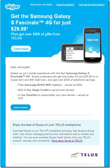 Skype.Telus .Launch.email .22Sep11 thumb Skype and TELUS: Carrier Supported Skype Now Available in Canada