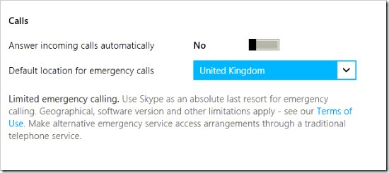 S4W8.Settings.Options.UK .Emerg thumb Skype for Windows 8: Audio Settings and Options
