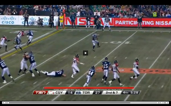 Grey Cup 100 Toronto Touchdown Play; courtesy TSN
