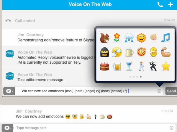 S4iPad.4 2.Emoticons.Both thumb Skype 4.2 for iPad: Microsoft Integration, Edit/Remove Chat and more