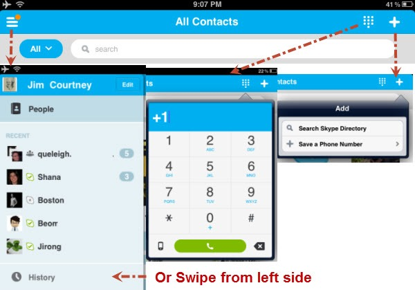 S4iPad.4 5.TopMenuActions thumb Skype 4.5 for iPhone/iPad Iterates the User Experience