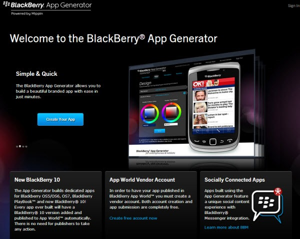 BB.AppGenerator.Home thumb Voice On The Web: Now a BlackBerry 10 & Playbook App
