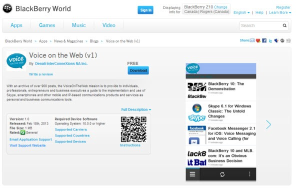 BB10.VOTWApp.BBWorld Voice On The Web: Now a BlackBerry 10 & Playbook App