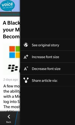 BB10.VOTWApp.PostMenu thumb Voice On The Web: Now a BlackBerry 10 & Playbook App