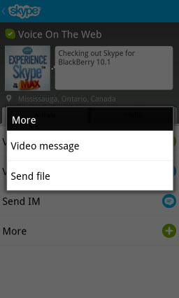 S4BB10.Actions.More  Skype for BlackBerry 10.1: Feature Rich Mobile Conversations