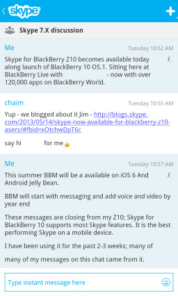 S4BB10.ChatSession Skype for BlackBerry 10.1: Feature Rich Mobile Conversations