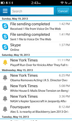 S4BB10.HubNotifications Skype for BlackBerry 10.1: Feature Rich Mobile Conversations
