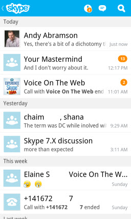 S4BB10.Recent.Screen Skype for BlackBerry 10.1: Feature Rich Mobile Conversations