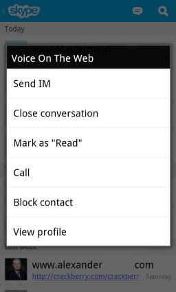 S4BB10.Recent.SubMenu Skype for BlackBerry 10.1: Feature Rich Mobile Conversations