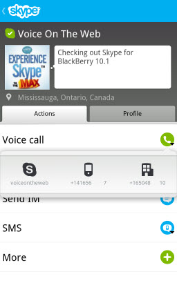 S4BB10.VOTW .Actions.Call 1 Skype for BlackBerry 10.1: Feature Rich Mobile Conversations