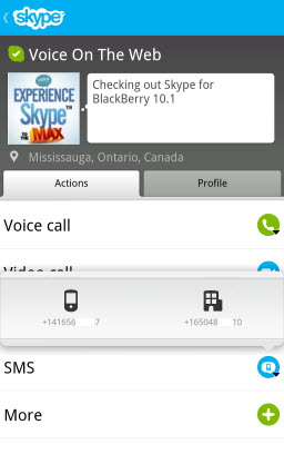 S4BB10.VOTW .Actions.SMSl  Skype for BlackBerry 10.1: Feature Rich Mobile Conversations