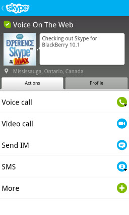 S4BB10.VOTW .ActionsMain Skype for BlackBerry 10.1: Feature Rich Mobile Conversations