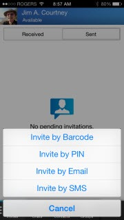 BBM.iOS .InviteMenu thumb BlackBerry: BBM for iOS and Android Launches